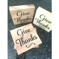Give Thanks! wooden block with decal