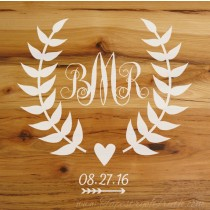 Monogram with Wedding Date - Decal 1