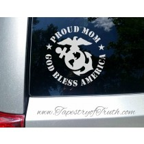 Proud Mom (of a Marine) - God Bless America - Car Decal