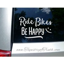 Ride Bikes Be Happy - Decal 1 - Car Decal